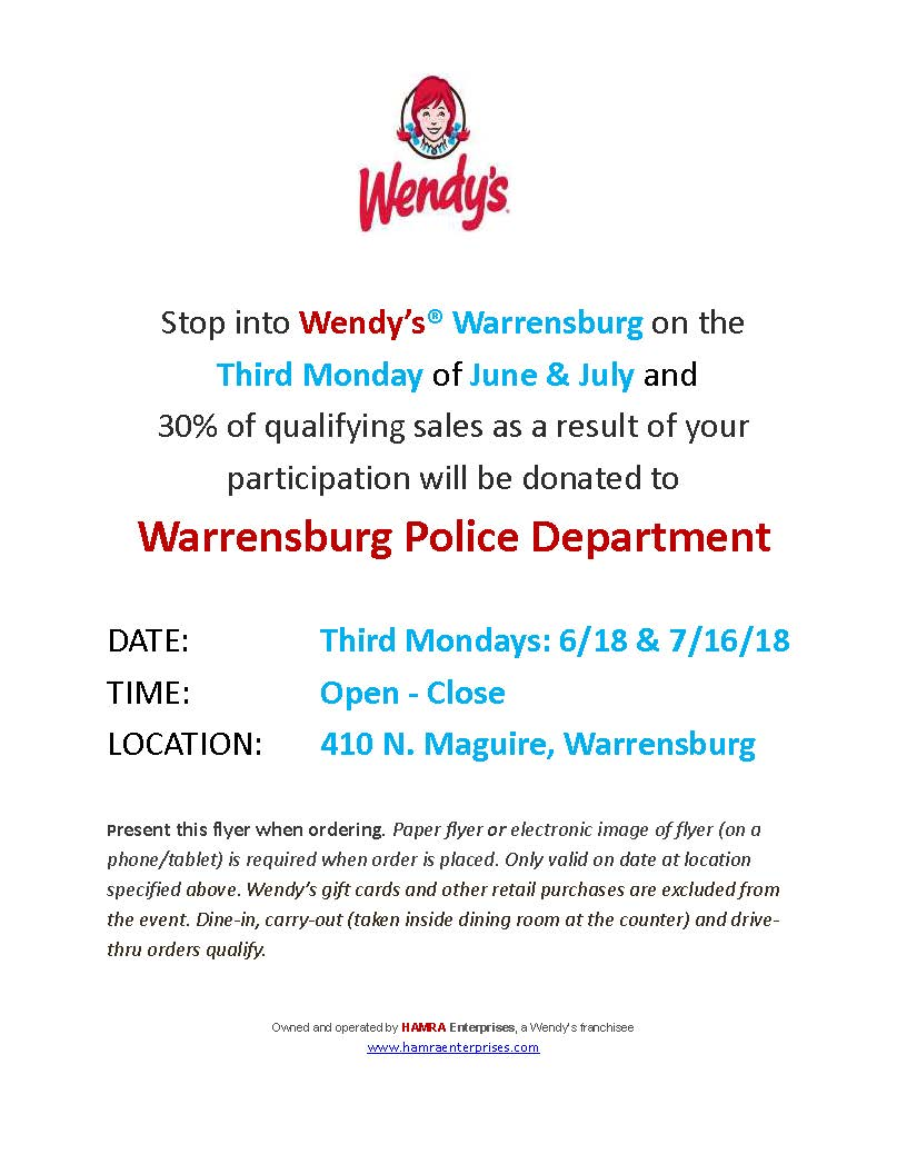 Police Fundraiser at Wendys