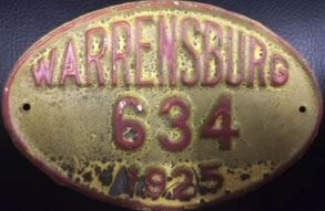 1925 Warrensburg Missouri License Plate
