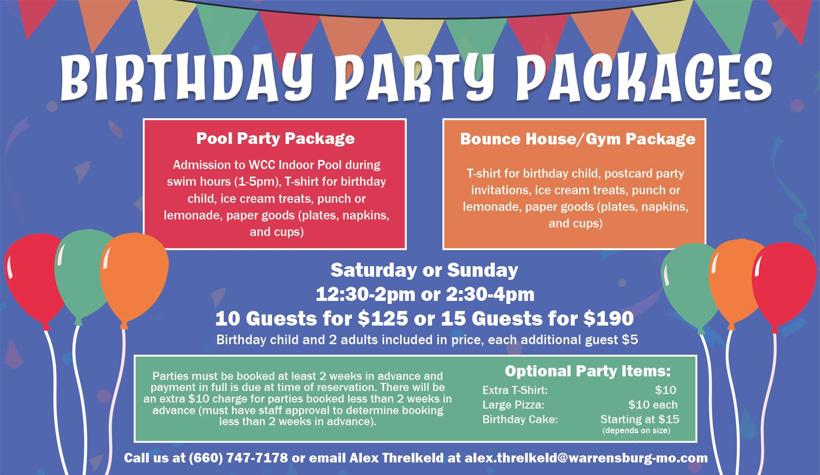 Birthday Party Packages 2020
